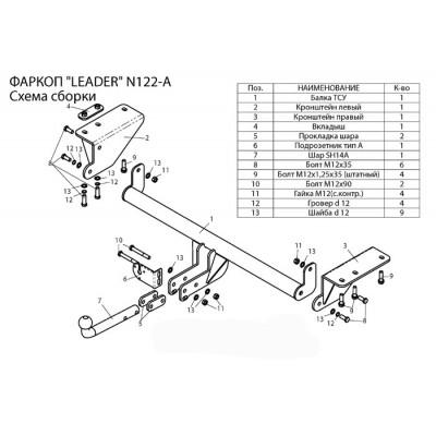Фаркоп ТСУ для NISSAN X-TRAIL 3 (T32) 2014 - ...