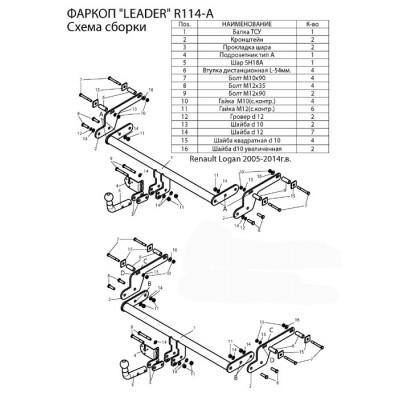 Фаркоп ТСУ для RENAULT LOGAN (седан) 2005-2014 / 2014-