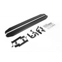 """Пороги Подножки + крепеж для Lifan X60 2016- Стиль """"Premium-Black"""""""