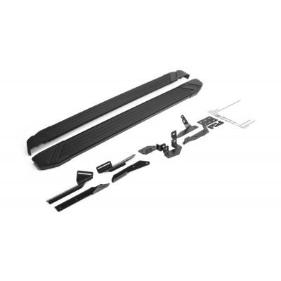 "Пороги Подножки + крепеж для Geely Emgrand X7 2019- Стиль ""Black"""